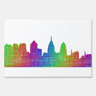Philadelphia skyline yard sign