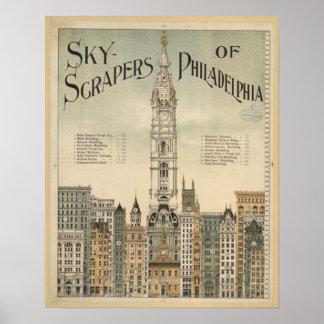 philadelphia skyscrapers vintage poster from 8 99