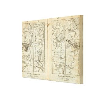 Philadelphia to New York Road Map 2 Canvas Print