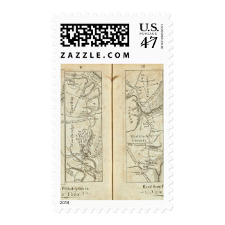 Philadelphia to New York Road Map 3 Postage