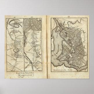 Philadelphia to Washington Road Map 2 Posters