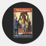 Philadelphia va por el ferrocarril de Pennsylvania Pegatinas Redondas