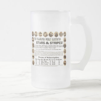 Philadelphia Weekly 1918 Stars & Stripes Newspaper Frosted Glass Beer Mug