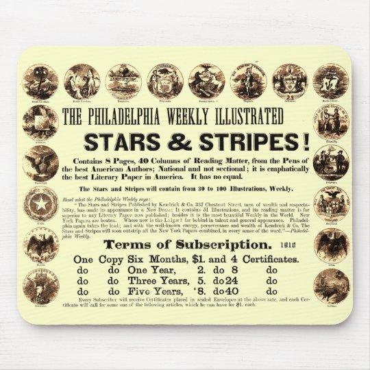 Philadelphia Weekly 1918 Stars & Stripes Newspaper Mouse Pad