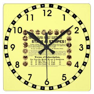 Philadelphia Weekly 1918 Stars & Stripes Newspaper Square Wall Clock