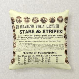 Philadelphia Weekly 1918 Stars & Stripes Newspaper Throw Pillow