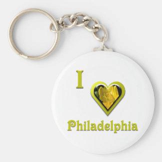 Philadelphia -- with Yellow Flower Basic Round Button Keychain