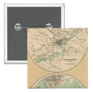 Philadelphia y Boston Pin Cuadrada 5 Cm
