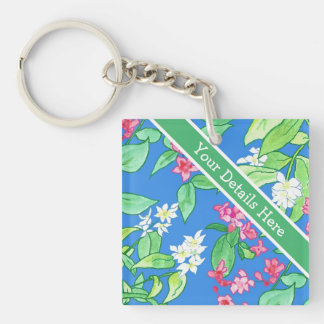 Philadelphus and Weigela Spring Blossoms on Blue Keychain