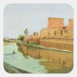 Philae en el Nilo, 1894 Pegatina Cuadrada