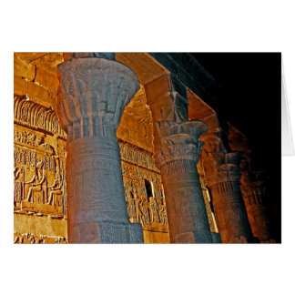 Philae Temple Hieroglyphs and Columns at Night Card
