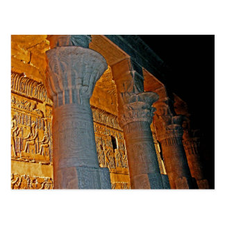 Philae Temple Hieroglyphs and Columns at Night Postcard
