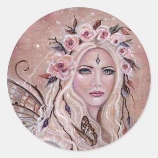 Philantha fairy round stickers by Renee Lavoie