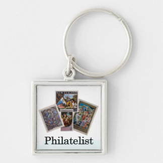 Philatelist 2 Silver-Colored square keychain
