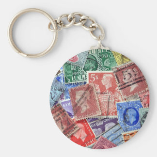Philately vintage uk stamps basic round button keychain