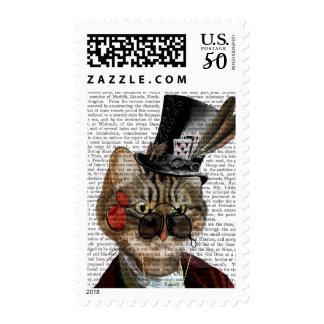 Phileas Feline Steampunk Cat & Top Hat 2 Postage