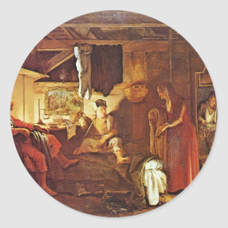 Philemon And Baucis By Elsheimer Adam Round Sticker