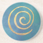 Philip Bowman Infinity Bright Blue Spiral Gold Drink Coaster