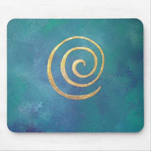 Philip Bowman Infinity Bright Blue Spiral Gold Mouse Pads