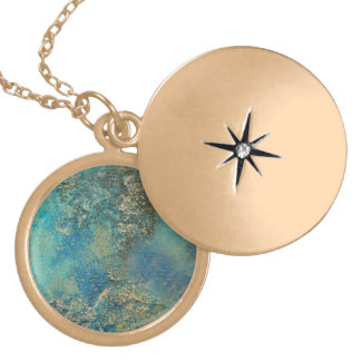 Philip Bowman Ocean Blue And Gold Abstract Art Locket Necklace