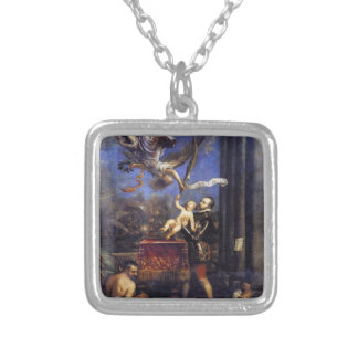 Philip II Offering Don Fernando to Victory Titian Square Pendant Necklace