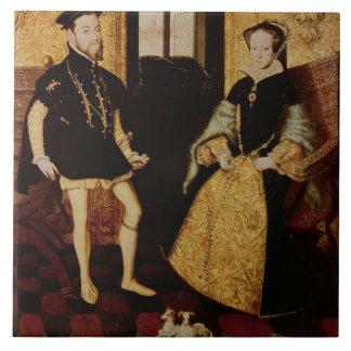 Philip II y Maria I, 1558 Azulejo Cuadrado Grande