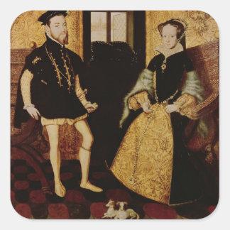 Philip II y Maria I, 1558 Calcomanías Cuadradass Personalizadas