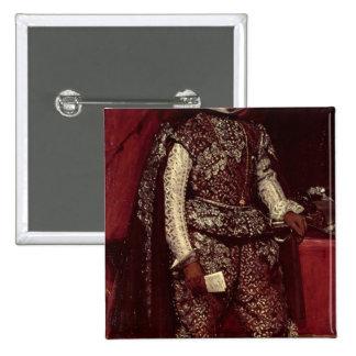Philip IV de España en Brown y plata Pin Cuadrada 5 Cm