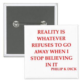 philip k dick quote 2 inch square button