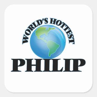 Philip más caliente del mundo pegatina cuadrada