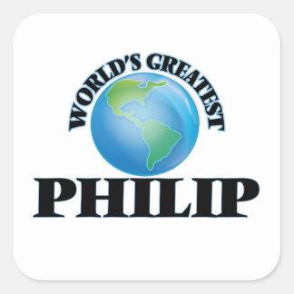 Philip más grande del mundo pegatina cuadrada