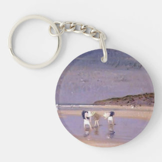Philip Steer- Boulogne Sands. Children Shrimping Single-Sided Round Acrylic Keychain