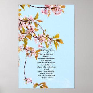 Philipians 2, 9-11, cherr japonés florece el poste póster