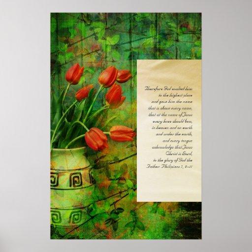 Philipians 2, poster del grunge de los tulipanes d