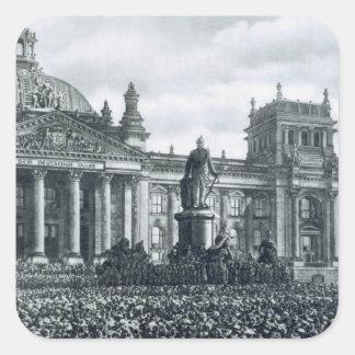 Philipp Scheidemann (1865-1939) gives an address f Square Sticker