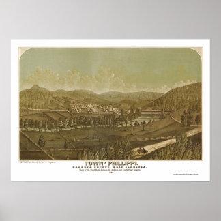 Philippi, mapa panorámico de WV - 1861 Póster