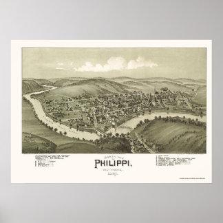 Philippi, mapa panorámico de WV - 1897 Póster