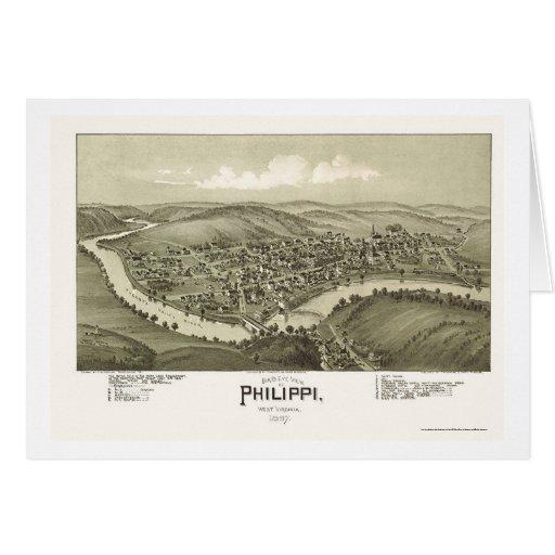Philippi, mapa panorámico de WV - 1897 Tarjeta De Felicitación