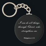"Philippians4:13,I can do all things through Christ Keychain<br><div class=""desc"">Black and White Bible Scripture Keychain Philippians 4:13</div>"
