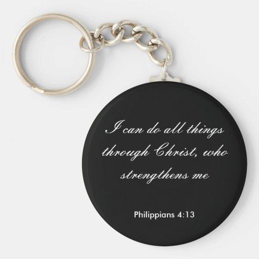 Philippians4: 13, puedo hacer todas las cosas a tr llavero redondo tipo pin