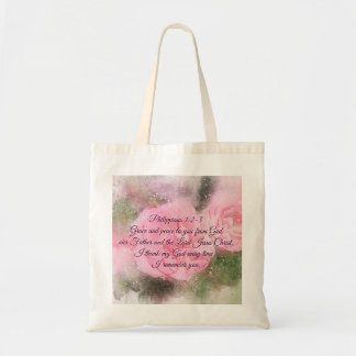 Philippians 1:2-3 Grace and Peace to You Scripture Tote Bag