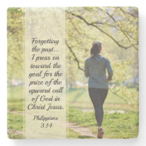 Philippians 3:13-14 Forgetting the Past Stone Coaster