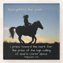 Philippians 3:13-14 I press toward the mark, Horse Glass Coaster