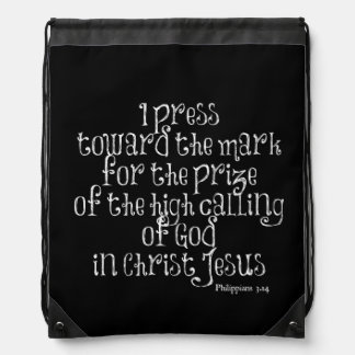 Philippians 3.14 Bible Verse Cinch Bag