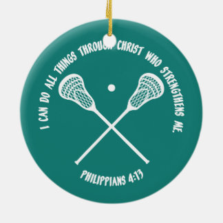 PHILIPPIANS 413 - LACROSSE Double-Sided CERAMIC ROUND CHRISTMAS ORNAMENT