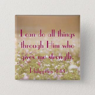 Philippians 4:13 Bible Verse Flower Field Photo Button