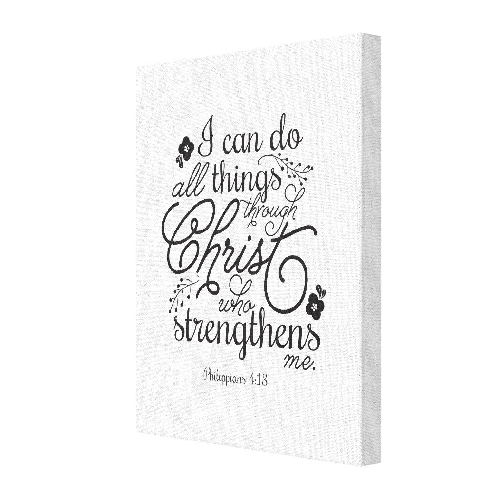 Philippians 4:13 Bible Verse Scripture Pick Color Canvas Print
