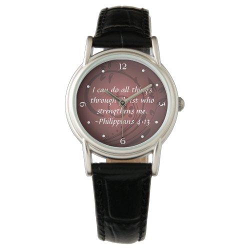Philippians 4:13 Christian Bible Verse Wrist Watch