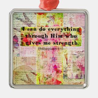 Philippians 4 13 christian spiritual art BIBLE Christmas Ornaments