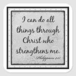 """Philippians 4:13, """"I can do all things through..."""" Sticker"""